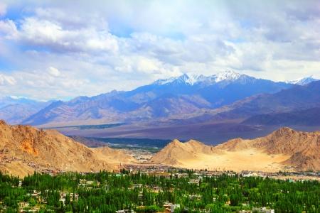 View of Leh valley, Ladakh range, Jammu  Stock Photo