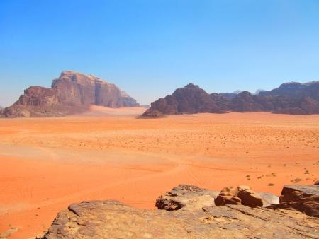 View of mountains and desert in Wadi Rum, Jordan