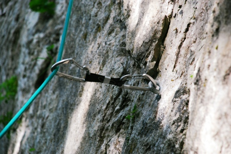 belay: Rock climbing, security first! Quickdraw and cord, and the mountain, and up up up Stock Photo