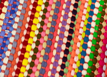 Rows of colorful woven fabric
