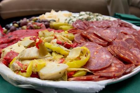 An image of a platter of Italian antipasto. Stock fotó