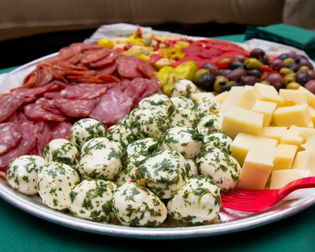 An image of a platter of Italian antipasto. Stock Photo