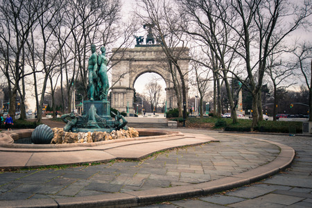 BROOKLYN, NY - MARCH 1, 2013:  Soldiers and Sailors Memorial Arch at Grand Army Plaza in Brooklyn, NY.  This historic Triumphal arch was dedicated in 1892.