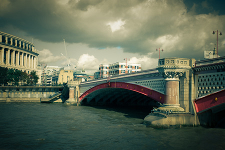 blackfriars bridge: London, UK - Oct. 7, 2014:  Vintage toned Blackfriars Bridge over the Thames in London