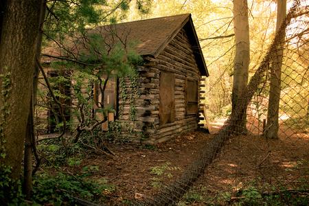Conceptueel beeld van afgelegen hut in het bos Stockfoto - 36867653