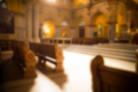 Blur style of interior of Catholic church Stock Photo