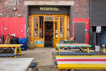 gentrification: RED HOOK, BROOKLYN - JUNE 6, 2015: Landmark Key Lime Pie shop in the gentrified neighborhood of Red Hook Brooklyn in New York City. Editorial