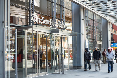 new york time: NEW YORK CITY - MARCH 14, 2014: Street view of Manhattan landmark The New York Times newspaper headquarters. Editorial