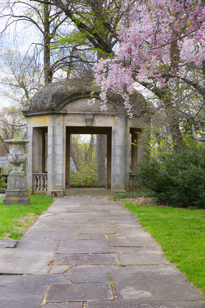 gazebo: Lovely garden with cherry blossoms and gazebo