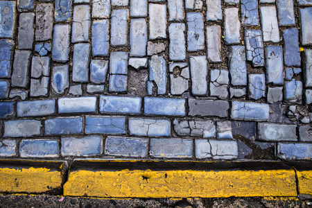 cobbled: Colorful old cobbled street seen in San Juan Puerto Rico Stock Photo