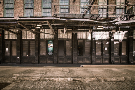 New York City, New York, USA - March 13, 2015: Street view from historic Gavsevoort Street in the Meatpacking district of Manhattan,