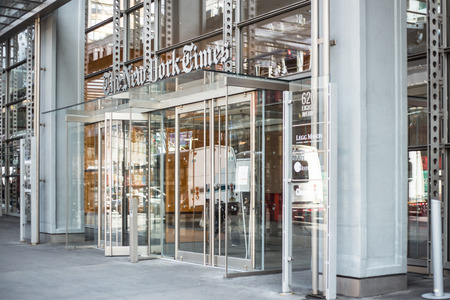 New York City, New York, USA - March 14, 2014:   Exterior view of The New York Times headquarters in Manhattan.