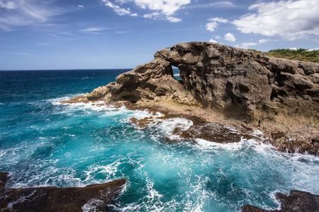 Puerto Rico coastline with jagged rocks Stock Photo