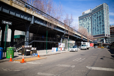 New York City, New York USA - March 13, 2015: Street scene from the Meatpacking District in Manhattan with the High Line and Standard Hotel.