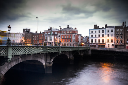 night view: View of vintage Grattan Bridge in Dublin Ireland