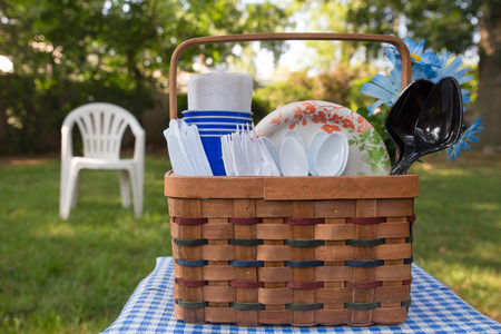 basket': Plastic and paper good in picnic basket in outdoor setting