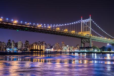 queensboro bridge: View of Ed Koch Queensboro Bridge in New York City at night