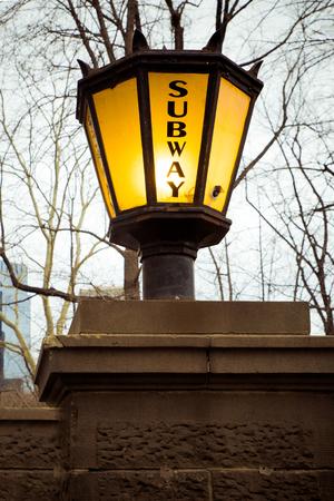 subway entrance: Vintage Lantern style light outside New York City subway entrance Stock Photo