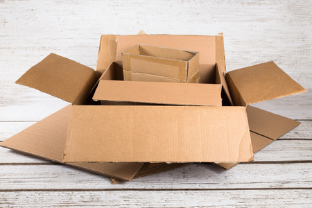 Cardboard shipping boxes in various sizes Фото со стока