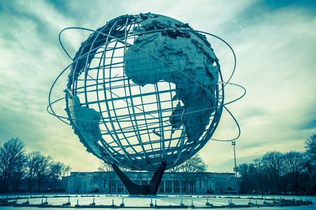 flushing: NEW YORK CITY - JANUARY 7, 2016: Vintage Unisphere at Flushing Meadows-Corona Park in Queens was installed for the 1964 Worlds Fair.