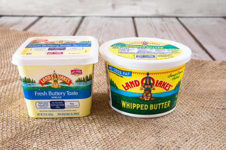 land: NEW YORK CITY - JANUARY 22, 2016: Pictured here are two types of Land OLakes creamery butter products.