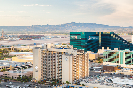 cirque du soleil: LAS VEGAS, NEVADA - MAY 8, 2014: Pictured here is a view across Las Vegas with Maccarren International Airport and resort casinos in view.