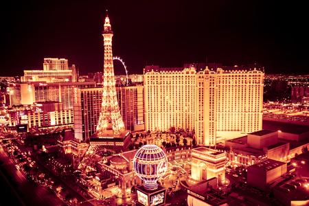 LAS VEGAS, NEVADA - MAY 7, 2014: Golden Night of the Las Vegas with Paris Vegas Resort and Casino in view.