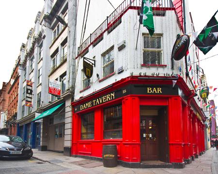 DUBLIN, IRELAND - APRIL 1, 2013: Dame Tavern Irish pub in the Temple Bar District of Dublin Ireland Editorial