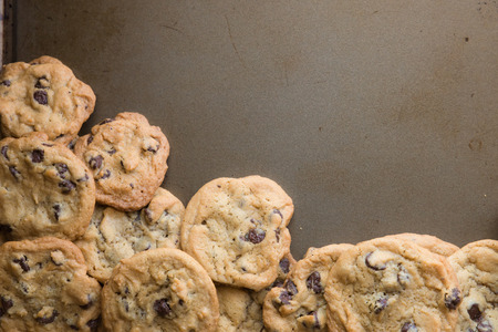 cookie sheet: Homemade chocolate chip cookies