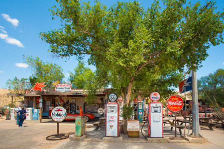 HACKBERRY, ARIZONA - MAY 8, 2014: Roadside Route 66 gas station and memorabilia store in Hackberry Arizona.