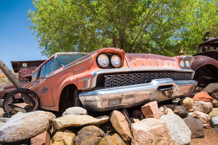 old mercury: HACKBERRY, ARIZONA - MAY 8, 2014: Vintage Mercury automobile at roadside antiques store along Route 66.