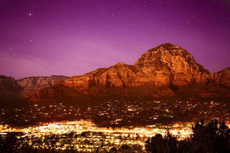 sedona: Beautiful view of Sedona Arizona seen at night Editorial