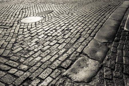 cobblestone road: Old cobblestone road in New York City