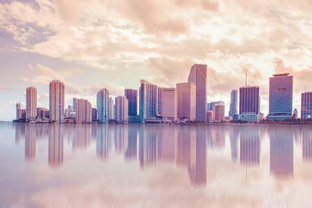 miami florida: Pastel tone Miami Florida skyline and bay