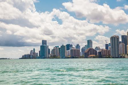 miami florida: Miami Florida skyline across Biscayne Bay on sunny Day