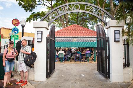 MIAMI, FLORIDA - APRIL 25, 2016: View of gate to landmark Domino Park along Calle Ocho in Little Havana.