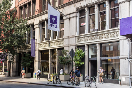 NEW YORK CITY - SEPTEMBER 13, 2013: Street view of New York University NYU in Greenwich Village Manhattan.