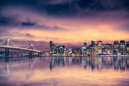 Evening view of beautiful San Francisco skyline and bay