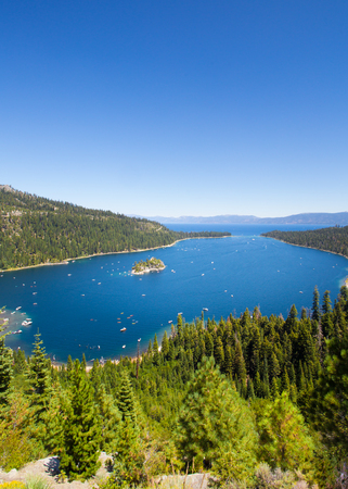 south lake tahoe: Beautiful view of Lake Tahoe at Emerald Bay in California USA Stock Photo