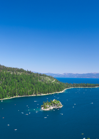 lake tahoe: Beautiful view of Lake Tahoe at Emerald Bay in California USA Stock Photo