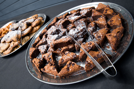 decadent: Platter of decadent chocolate brownies