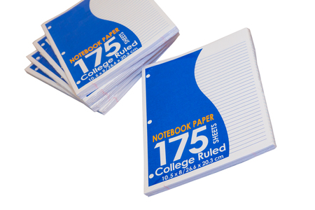loose leaf: Packages of college lined loose leaf paper