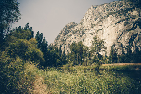 the sentinel: Vintage style and toned image of Yosemite National Park at Sentinel Dome Stock Photo