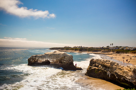 Natural Bridge State Beach in Santa Cruz California  on a sunny day. Stock Photo