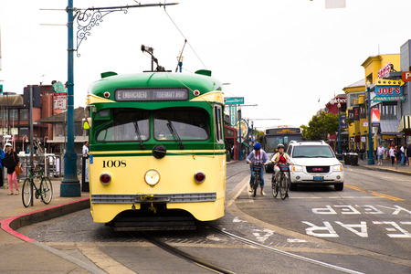 SAN FRANCISCO, CA - JULY 31, 2016 :View of streetcar at Fisherman's Wharf in San Francisco with people visible.