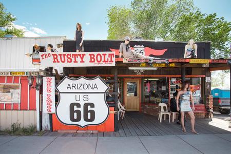 SELIGMAN, AZ - MAY 8, 2014: Rusty Bolt roadside souvenir shop along historic section of Route 66 in Seligman, Arizona. Editorial