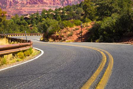 desert road: winding desert road Stock Photo
