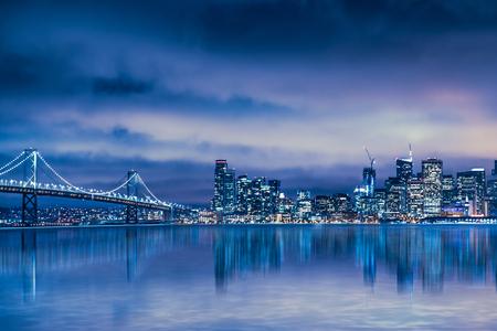 bay bridge: Night view of Beautiful San Francisco skyline and Bay Bridge Stock Photo