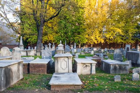 pa: November 11, 2016 - Philadephia PA: Historic Christ Church Burial Ground Stock Photo