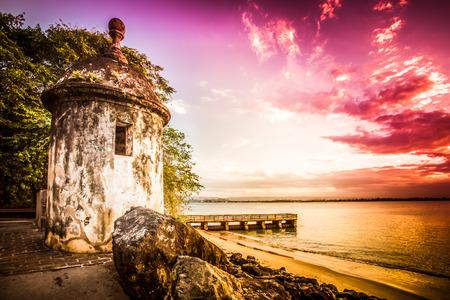 Fort at Castillo San Felipe del Morro also known as El Morro, Old San Juan Puerto Rico seen at sunset